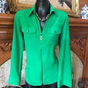 Luscious Green MK Zipper Front Top